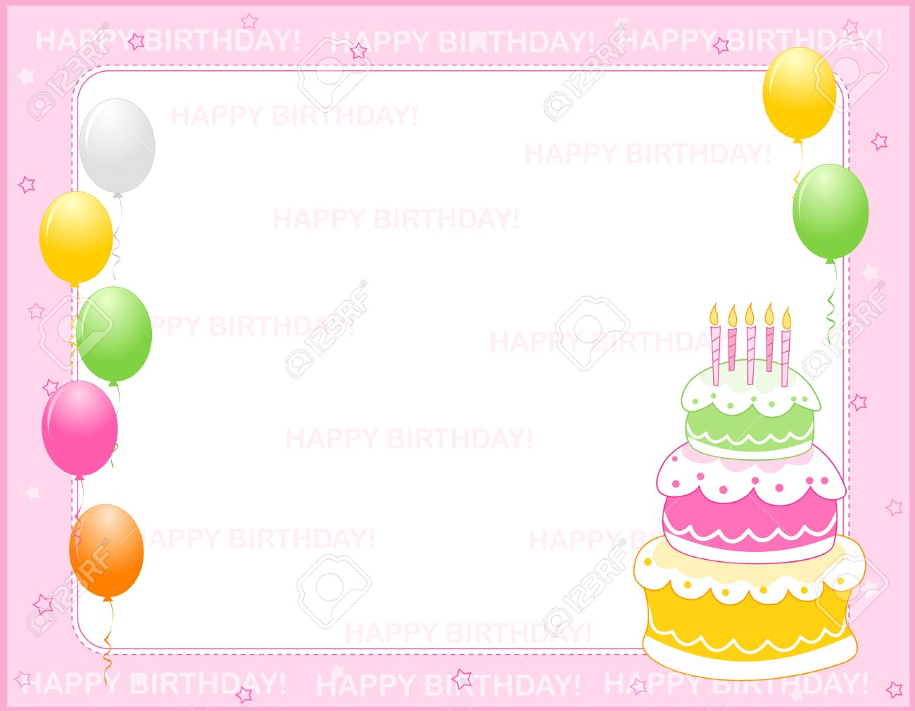 Colorful Girly Birthday Card Invitation Background With Happy Text And Balloons A Birth