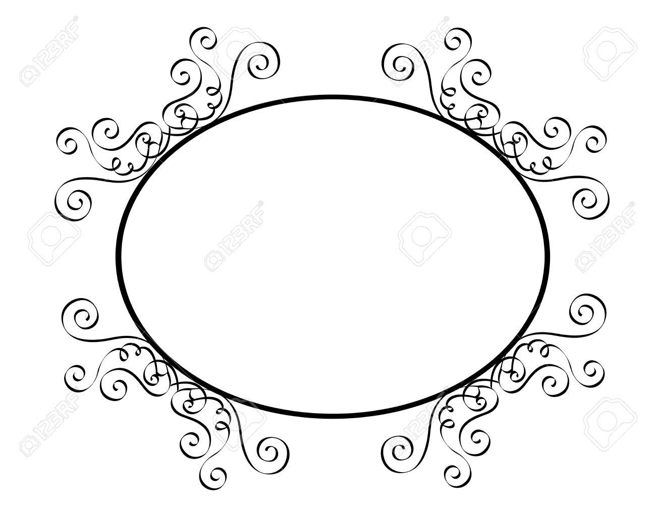 Blanco Y Negro Ornamental Oval De Frontera / Marco Especialmente ...