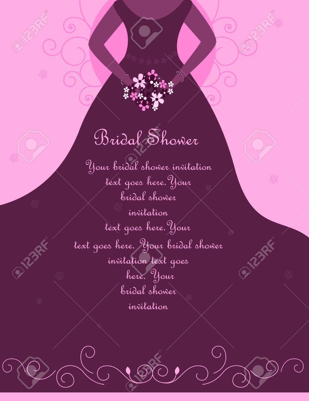 bridal shower wedding invitation card background with a beautiful bride holding flowers on soft pink