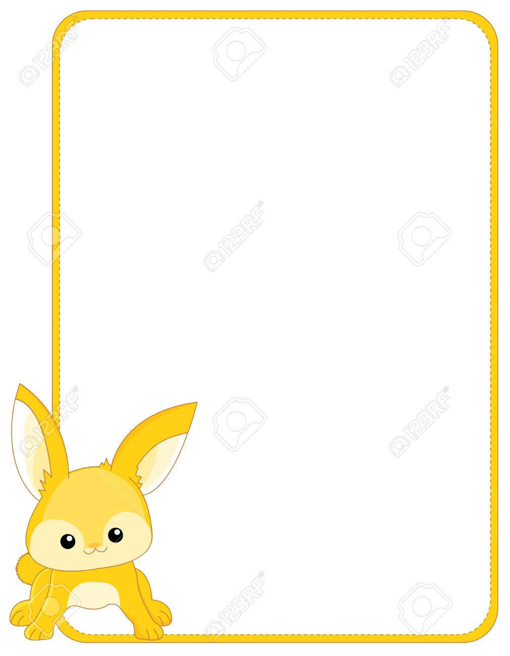 illustration of a cute little bunny rabbit border frame