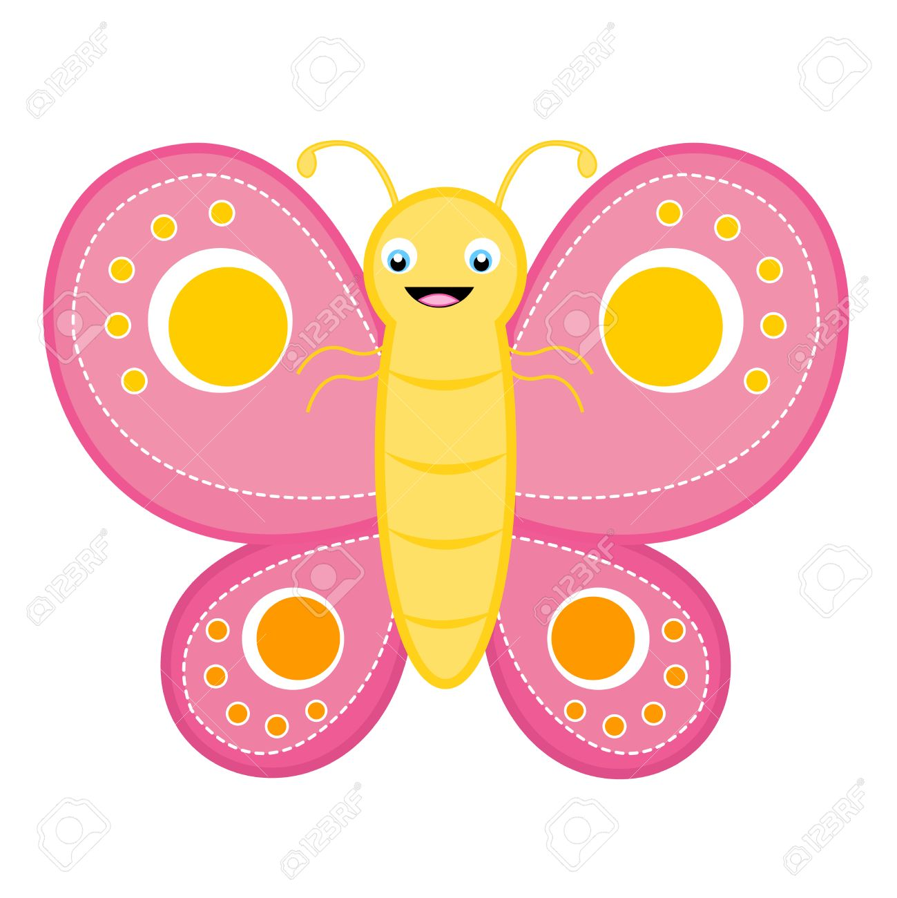 cute happy smiling butterfly clip art isolated on white background rh 123rf com butterfly clipart images butterfly clipart pictures