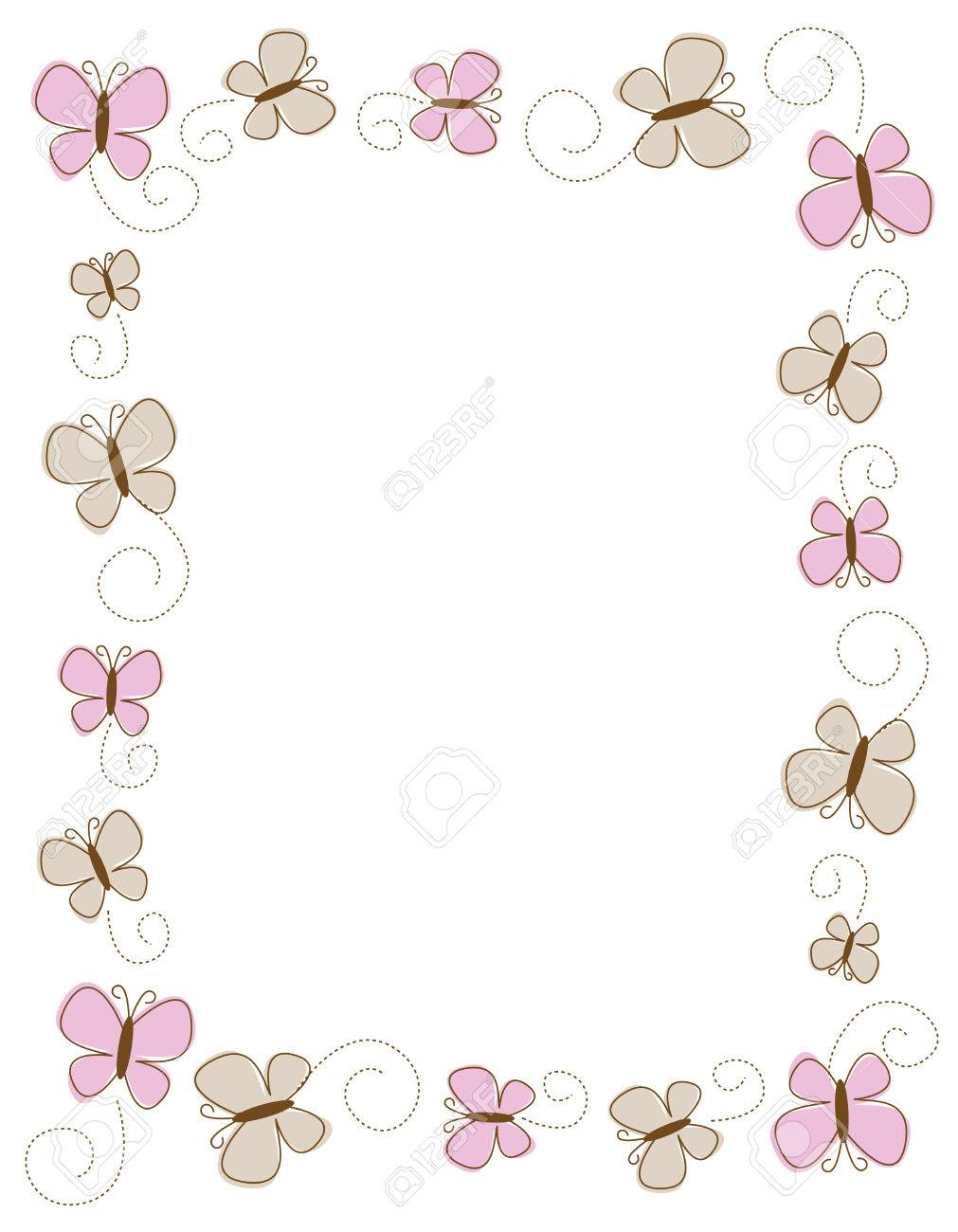 Colorful Butterfly Frame On White Royalty Free Cliparts, Vectors ...