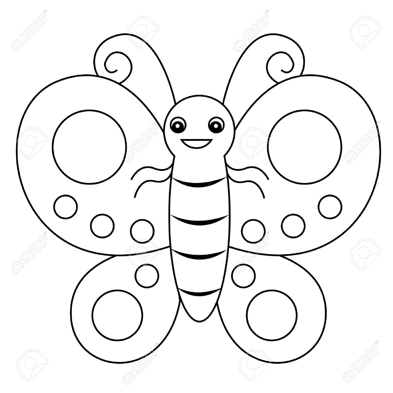 Cute Outlined Butterfly Printable Graphic For Pre School Kids Coloring Book Pages Stock Vector