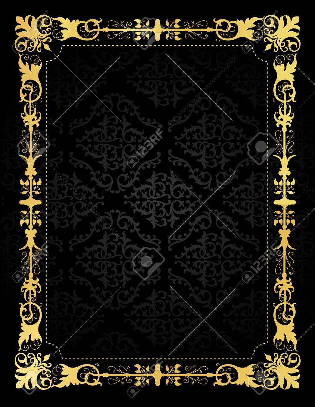 Elegant Gold And Black Damask Pattern Background With Gold Ornamental