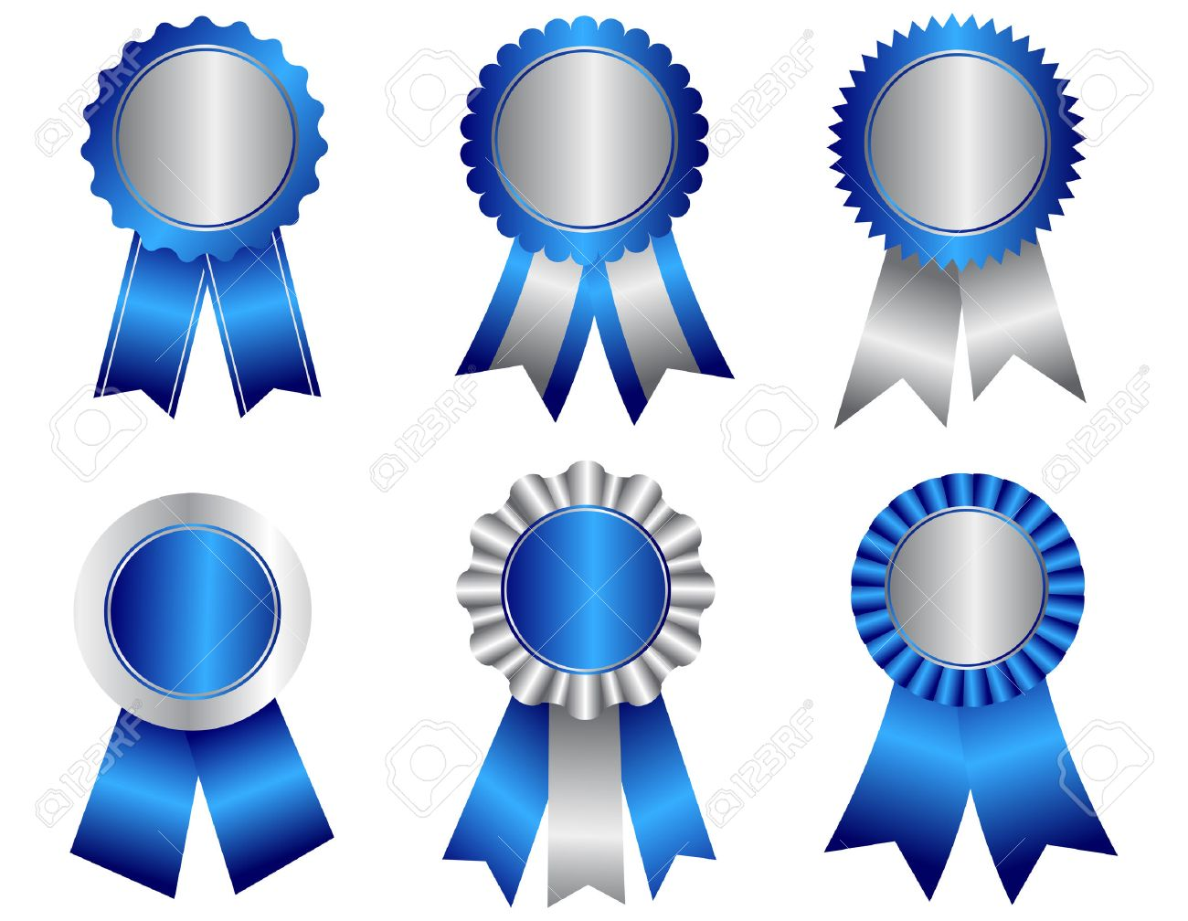 collection of different shaped blank award ribbon rosettes in