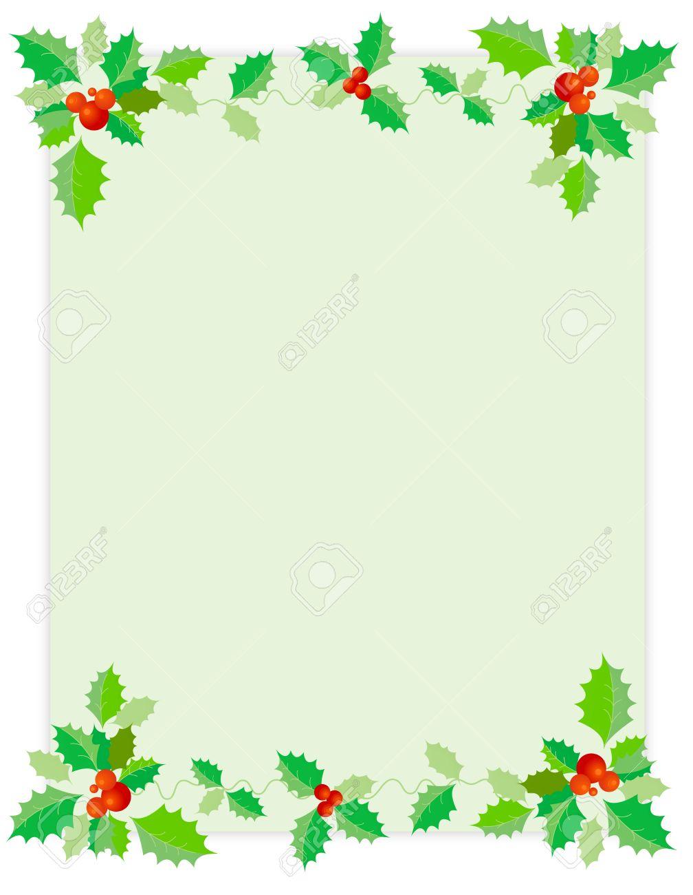 Stechpalmenblätter Und Rote Beeren Weihnachten / Urlaub Hintergrund ...