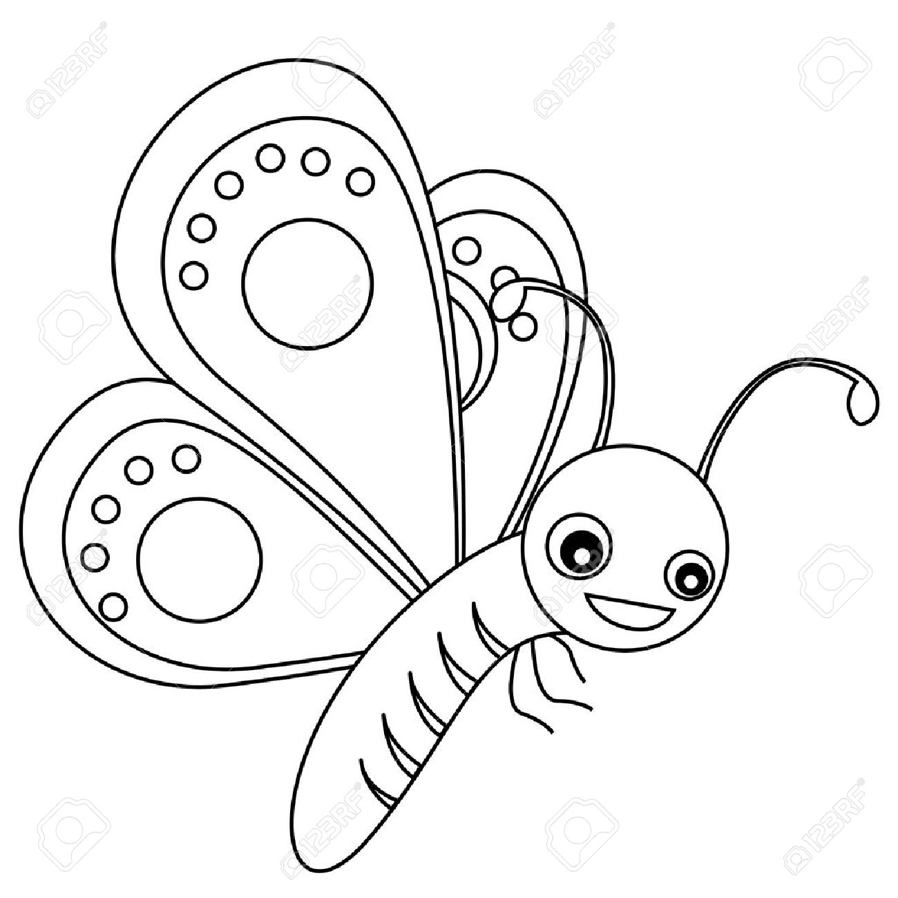 cute outlined butterfly printable graphic for pre kids