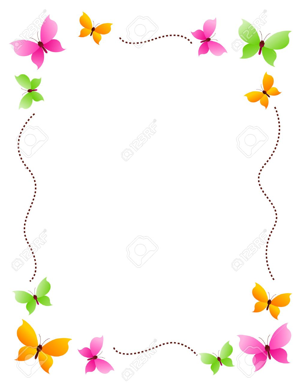 Butterfly Frame With Colorful Butterflies On Four Corners Royalty ...