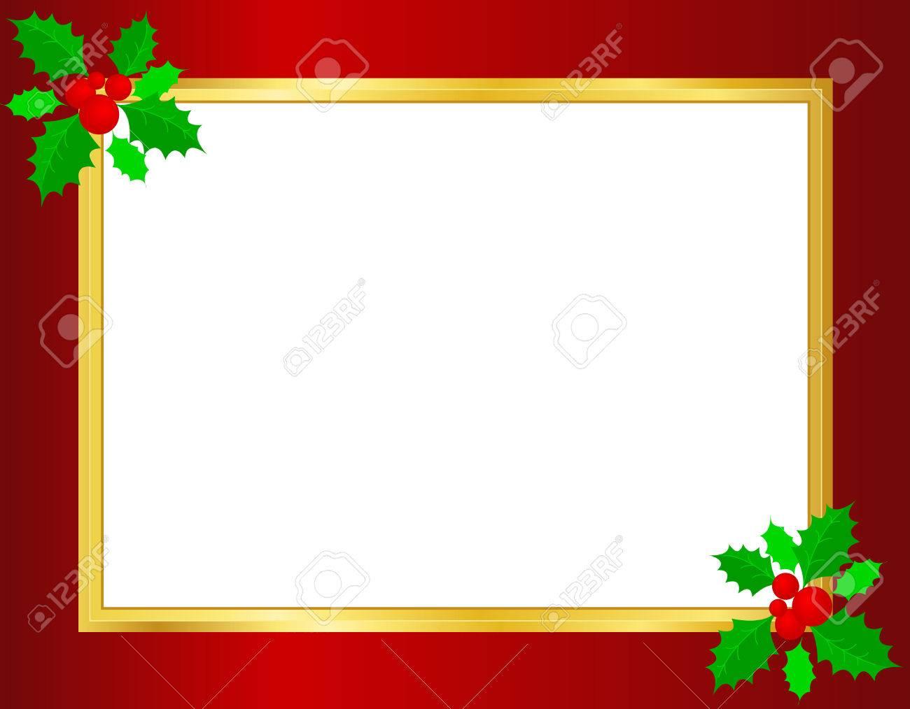 クリスマス枠ひいらぎの葉果実コーナーに金色のリボンと背景の