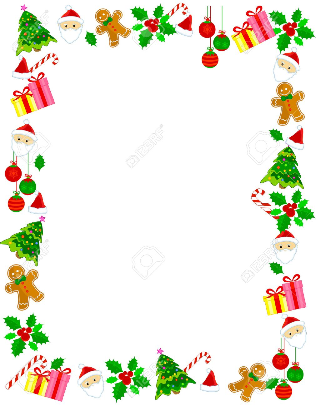 Christmas Frame.Colorful Christmas Frame Border With Different Clip Arts