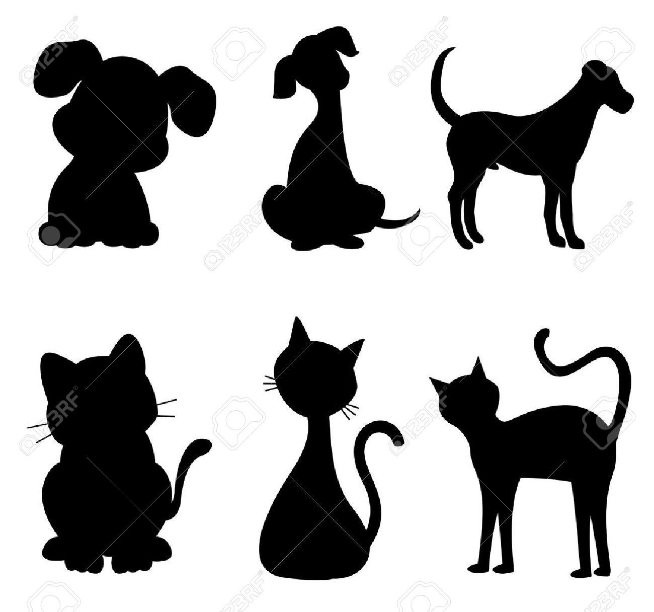 Gatos y perros silueta negro especialmente para mascotas logotipos clínica Foto de archivo - 38550562