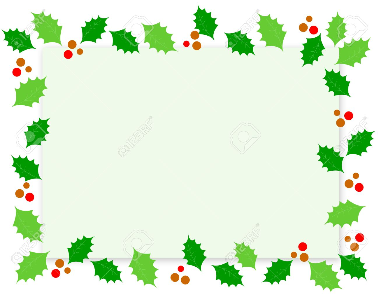 simple holly and red berries christmas border frame on white background stock vector 38550137