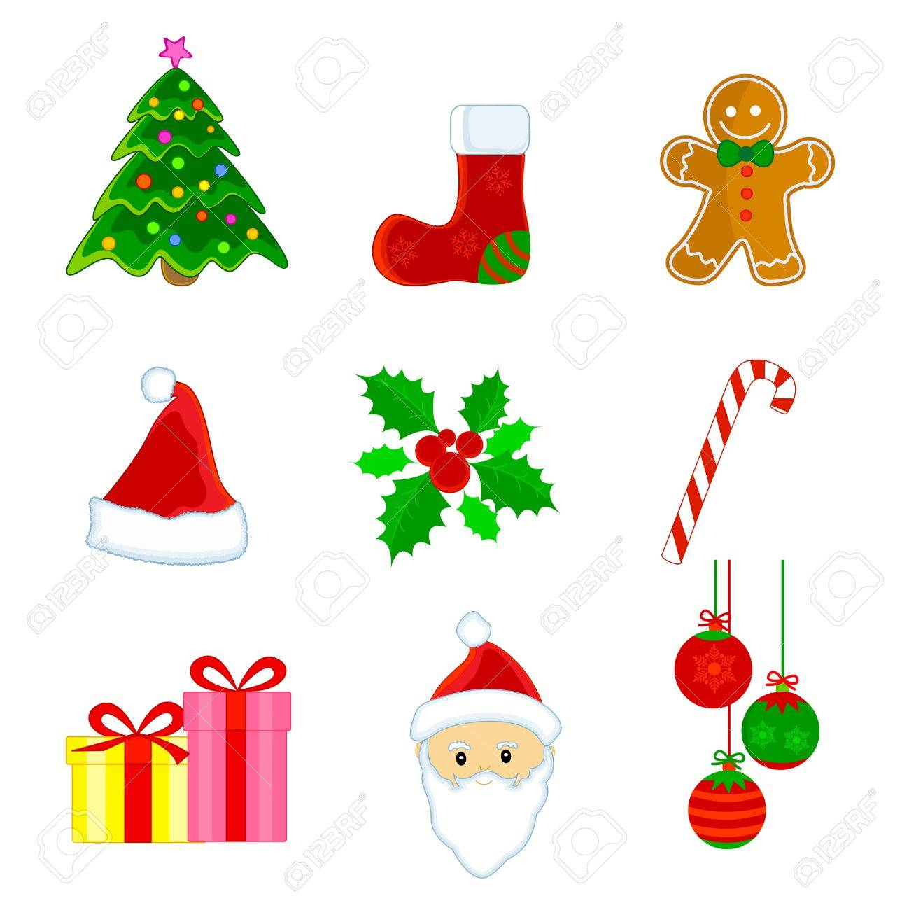 Cute Christmas Web Icon Clipart Set Isolated On White Background Stock Vector