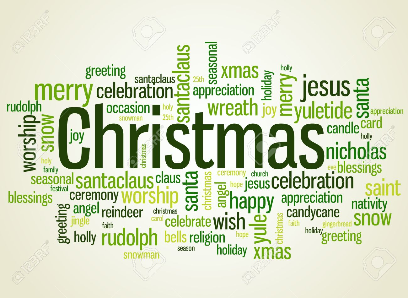 Christmas Wordcloud Illustration With Different Christmas Related ...