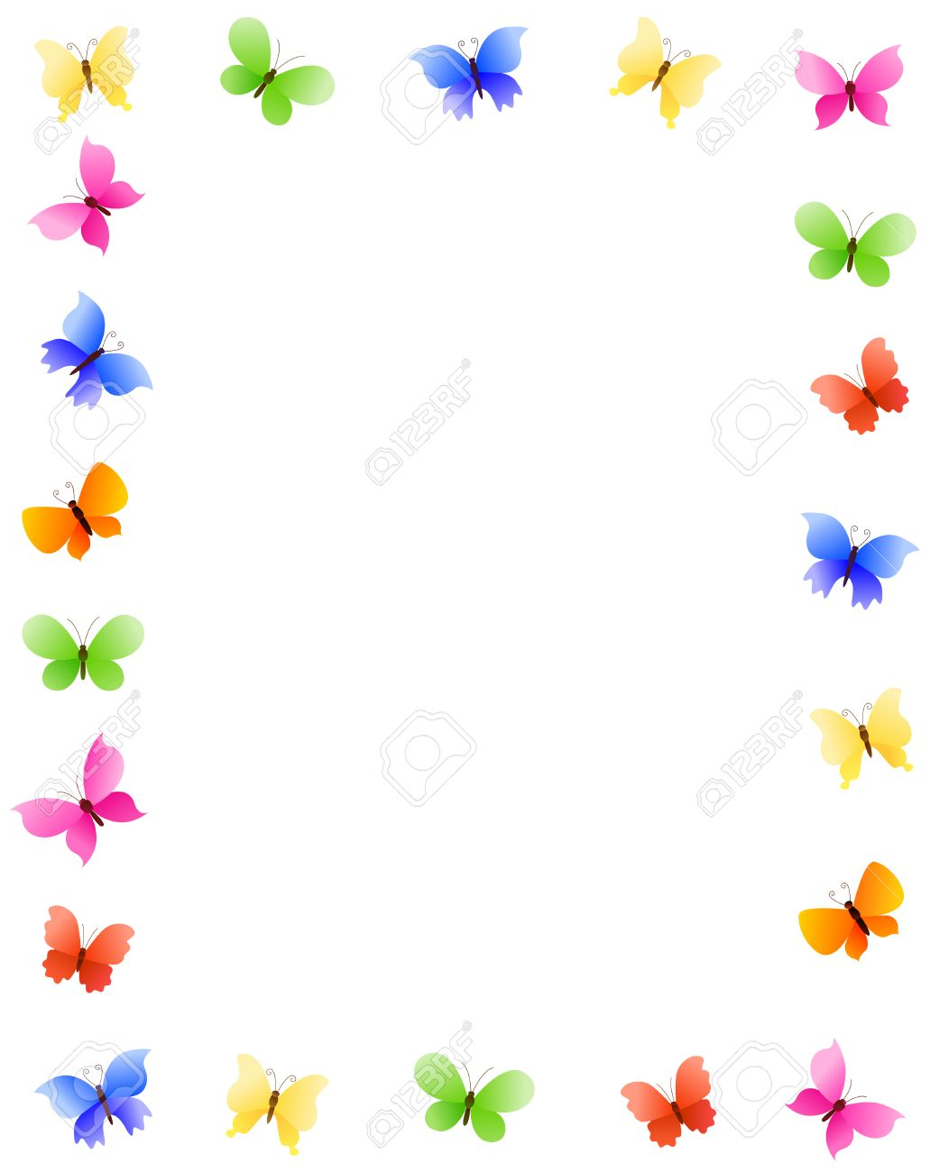 Colorful Butterfly Frame With Differend Shaped And Colored Butterfly ...