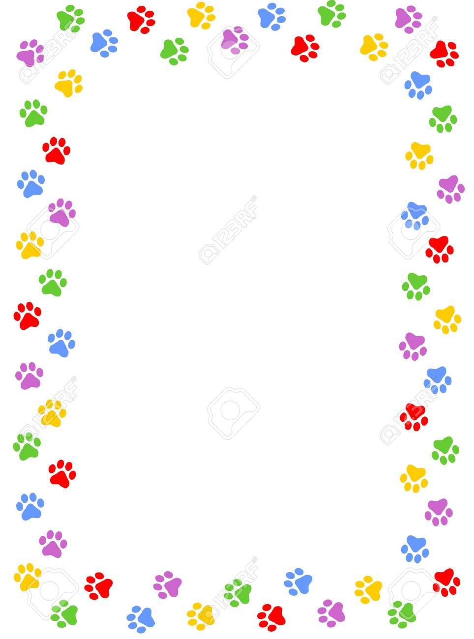 Colorful Dog Paw Print Frame Border On White Background Royalty