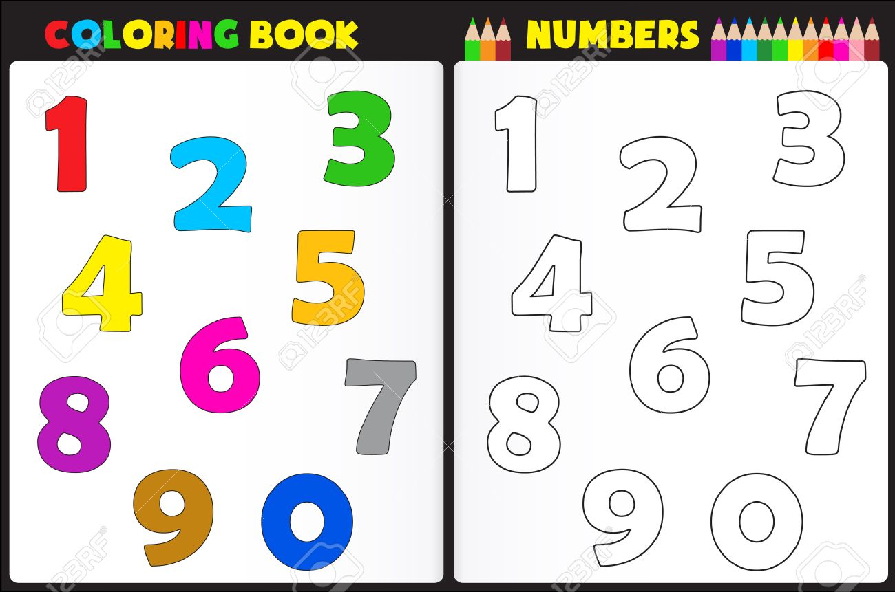Coloring Book Page For Preschool Children With Colorful Numbers And Sketches To Color Stock Vector