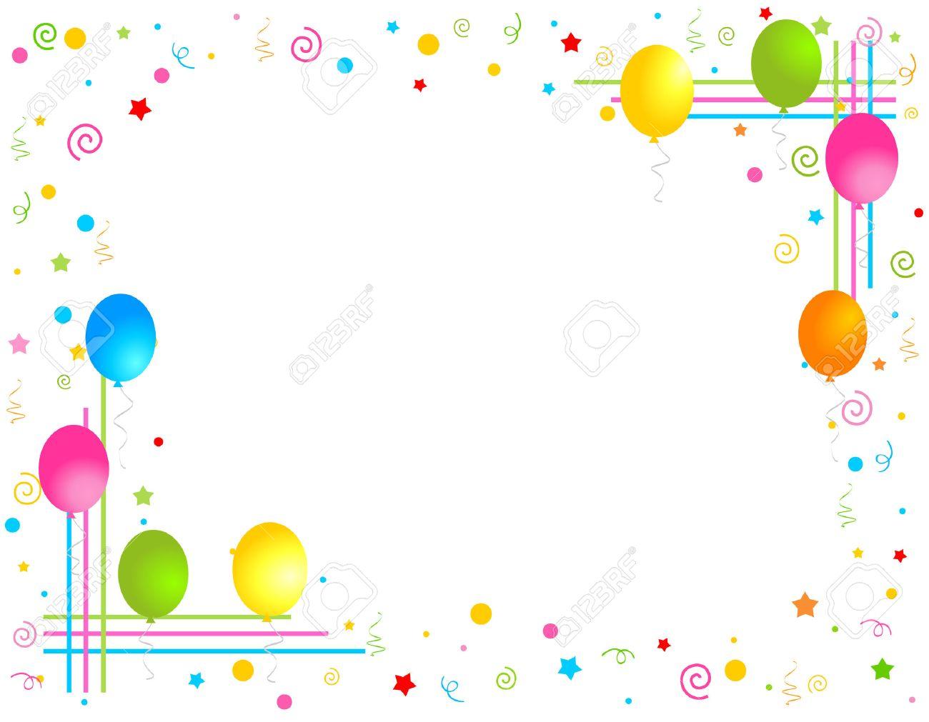 Bunte Luftballons Auf Weißem Hintergrund Illustration, Grußkarte ...