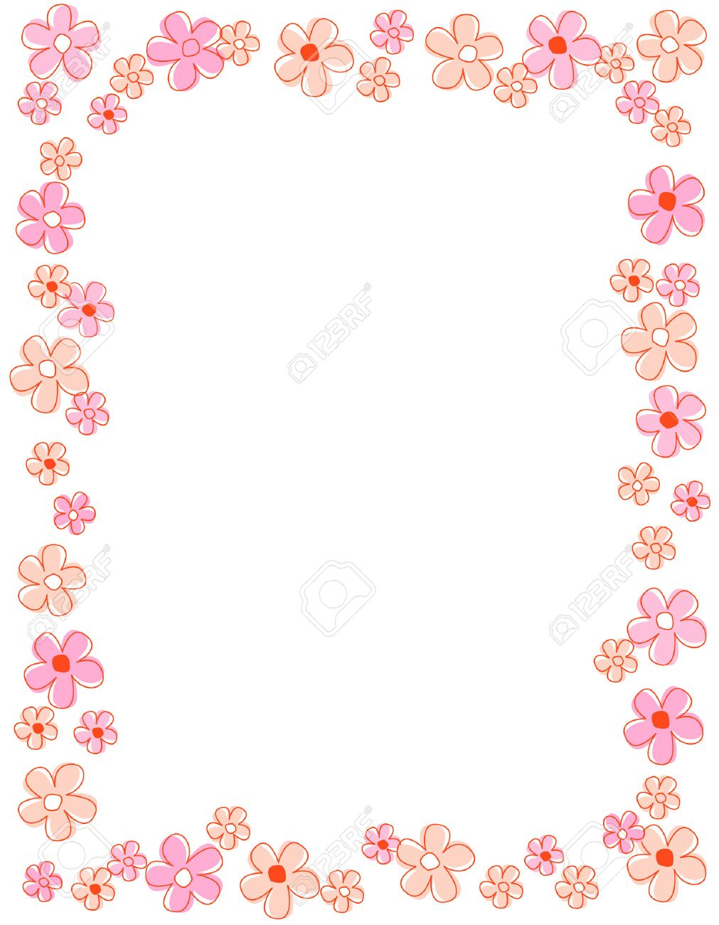 Colorful Spring Flowers Border Frame Royalty Free Cliparts