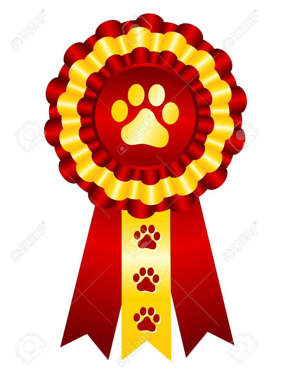 Dog competition winner gold award ribbon / stamp seal with red