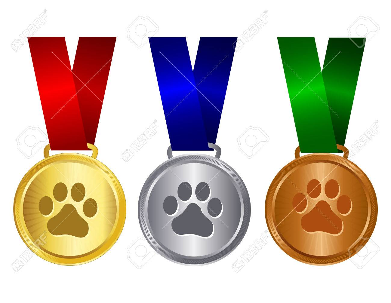 Dog show winners award medal gold , silver and bronze with red
