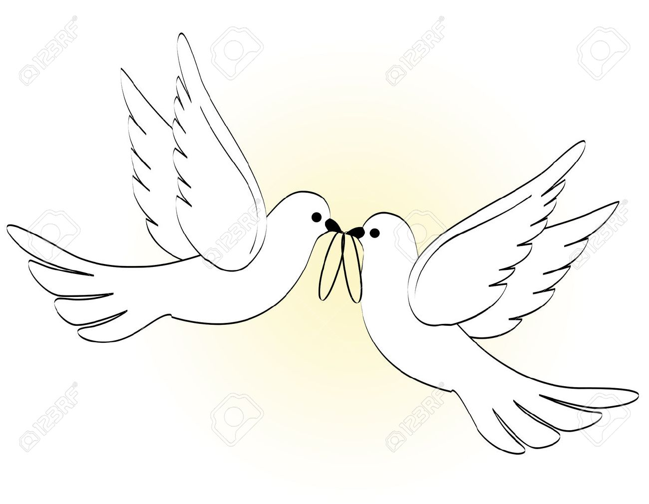 Illustration Of Two White Pigeons Doves Carrying Wedding Rings On Light Yellow Backgound Stock