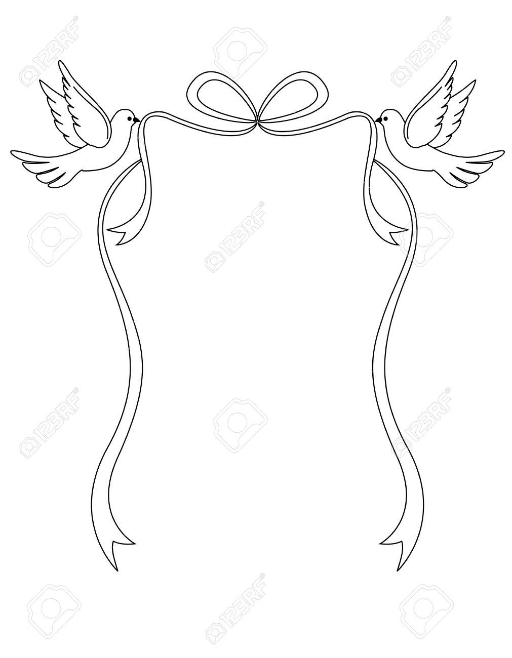 Zwei Liebende Weisse Tauben Eine Bandschleife Tragen Schone Taube