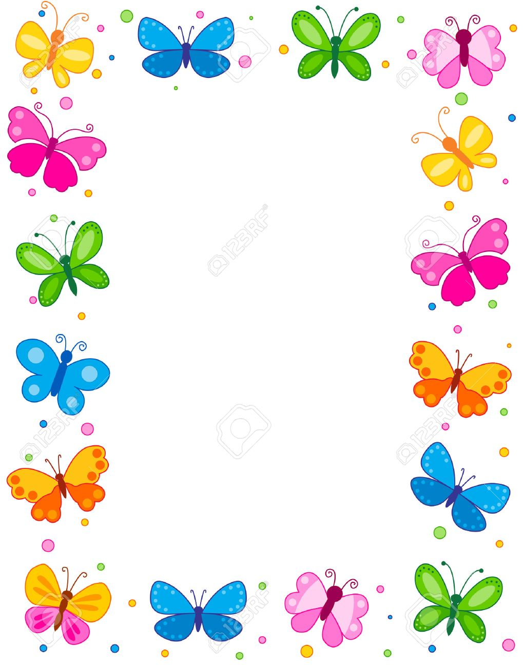 Colorful Butterflies Border / Frame / Background Royalty Free ...