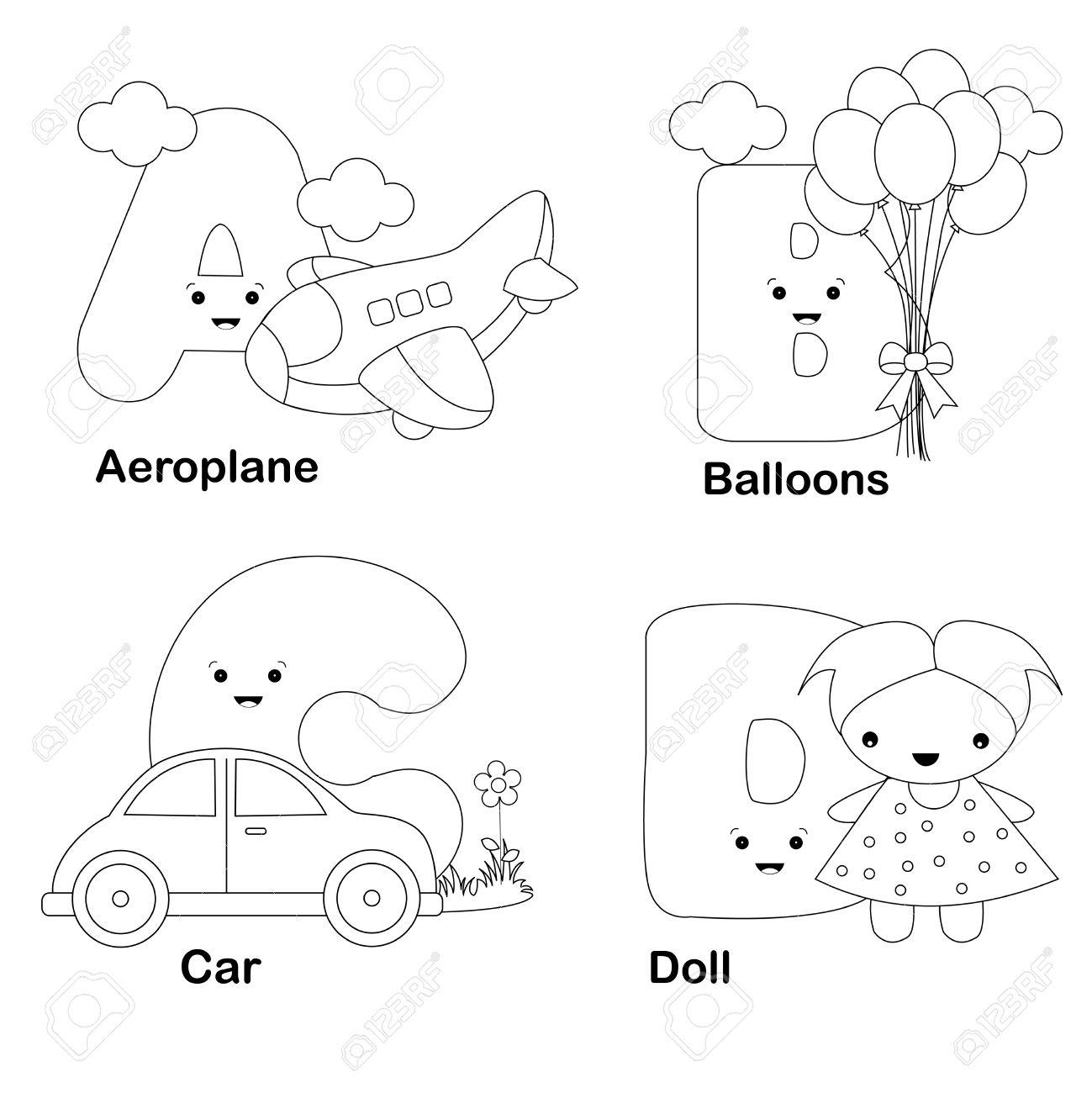 Ilustración De Las Letras Del Alfabeto Para Colorear Libro A, B, C ...