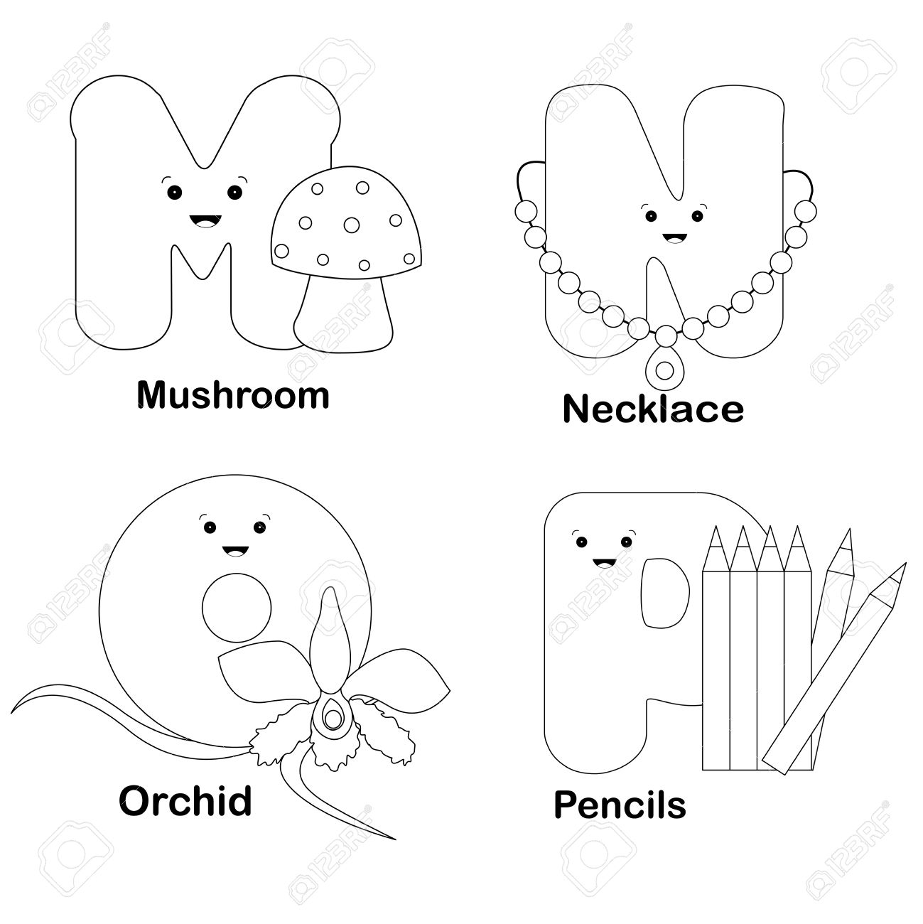 illustration of alphabet coloring page letters m n o p with
