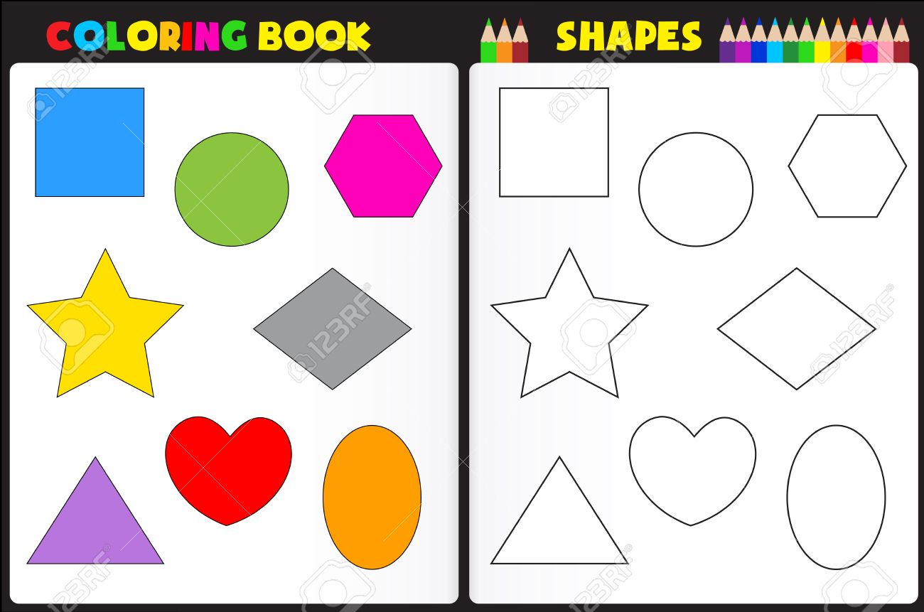 coloring book page for kids with colorful shapes and sketches