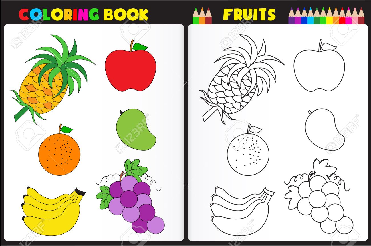 nature coloring book page for preschool kids with colorful fruits and sketches to color stock vector