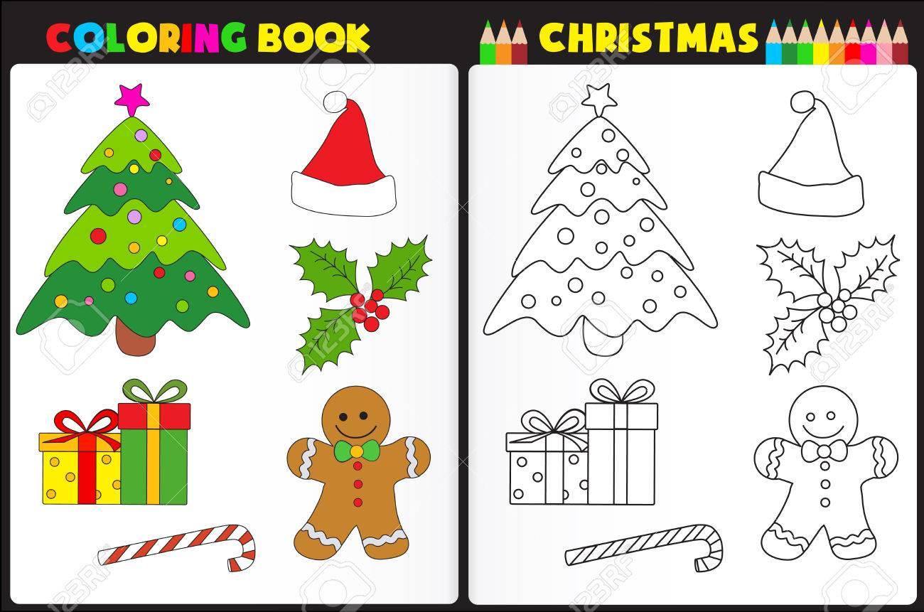 Immagini Di Natale Per Bambini Colorate.Colorare Natura Pagina Del Libro Per I Bambini In Eta Prescolare Con Oggetti Di Natale Colorate