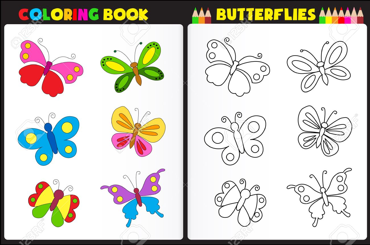 nature coloring book page for preschool children with colorful butterflies stock vector 38546005 - Nature Coloring Book
