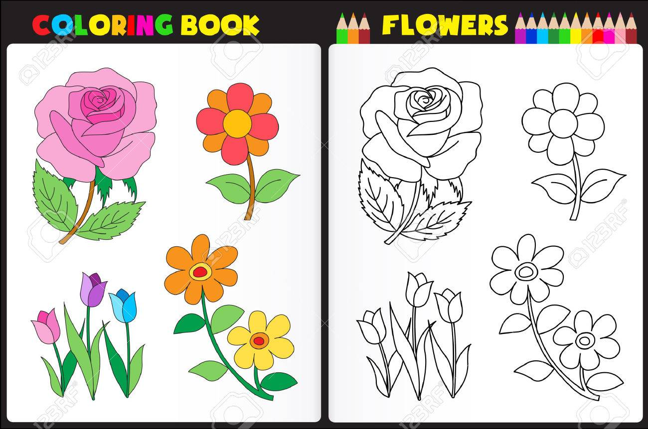 coloring book page for pre school childern with colorful flowers and sketches to color stock vector - Book To Color