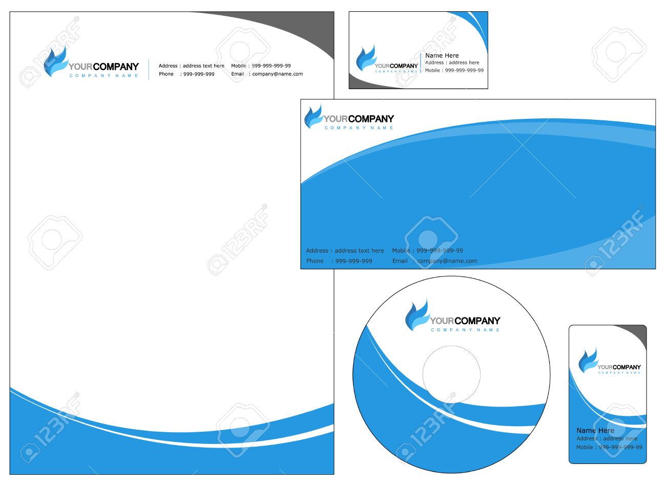 Set of corporate identity items easy to customize letterhead set of corporate identity items easy to customize letterhead envelope cd dvd cover and reheart Choice Image