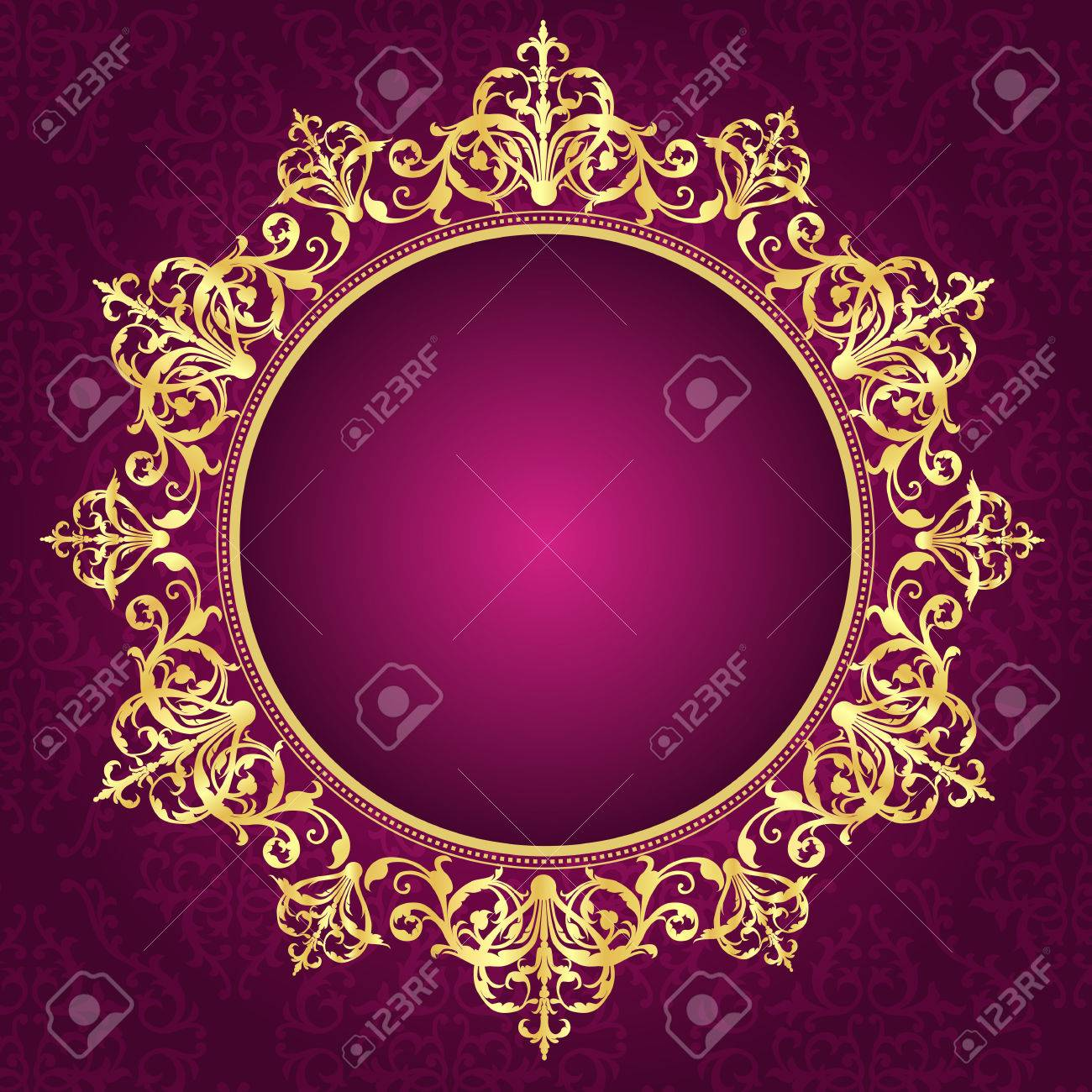 elegant gold ornamental circle frame on pink damask pattern