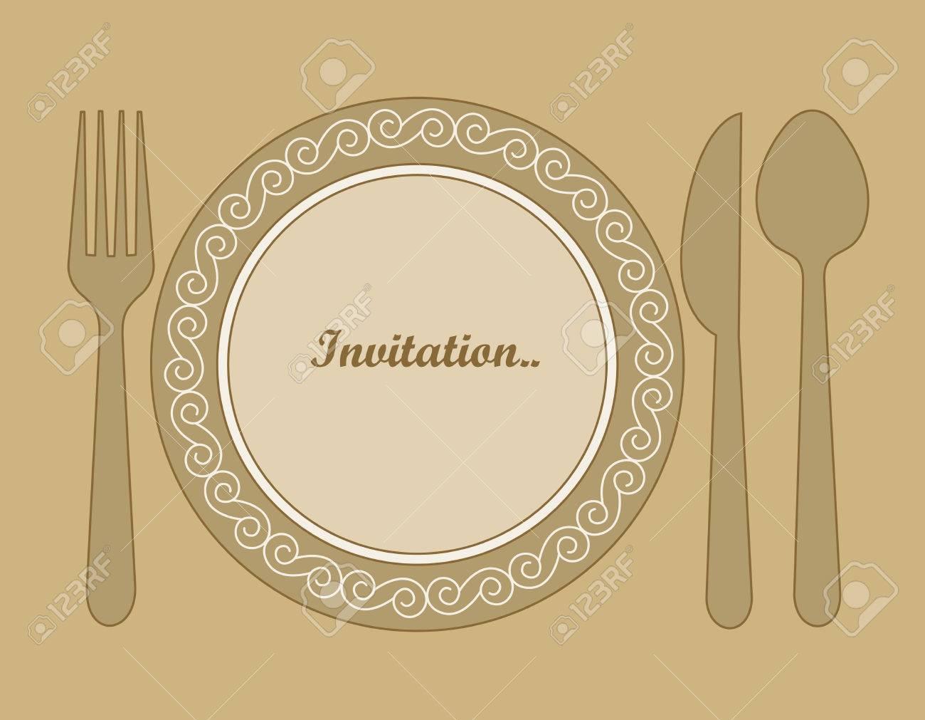 Cena Fondo De La Tarjeta De Invitación Con Cuchara Cuchillo Y Tenedor