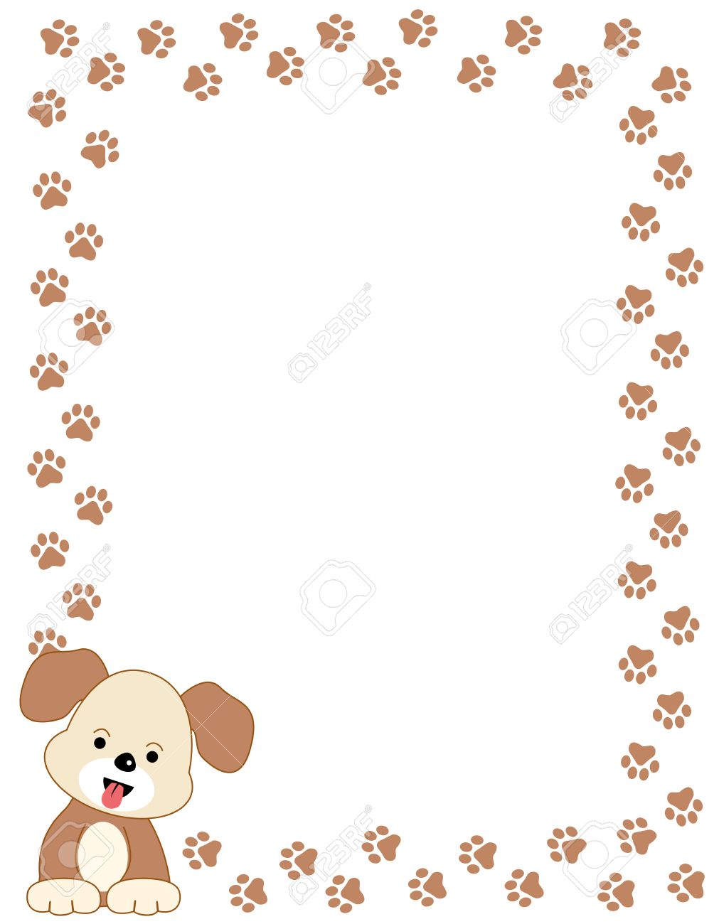 brown color dog paw print border frame with a cute dog in left bottom corner - Dog Frame