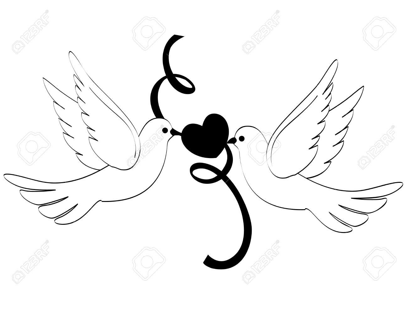 Deux Pigeons Blancs Colombes Titulaires D Un Clipart De Coeur Et Le Ruban Isole Sur Fond Blanc Clip Art Libres De Droits Vecteurs Et Illustration Image 38544212