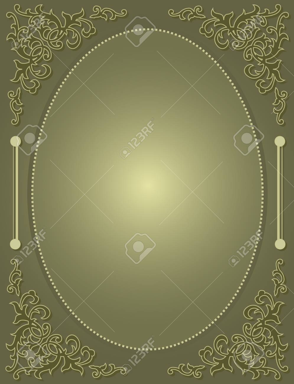Elegant Light Green Gold Ornamental Frame Corner On Green