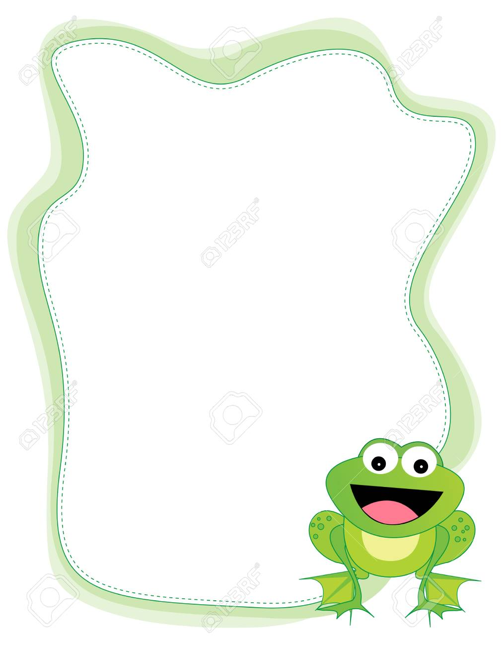 Cute Little Happy Frog Isolated On White Background Border ...