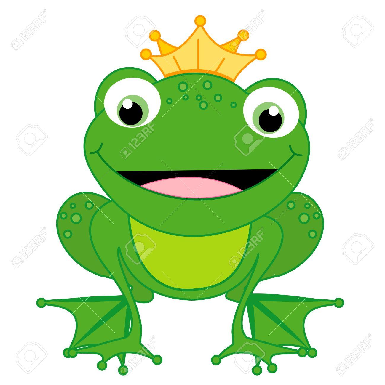 Ilustración De Un Pequeño Príncipe Rana Feliz Linda Con Una Corona ...