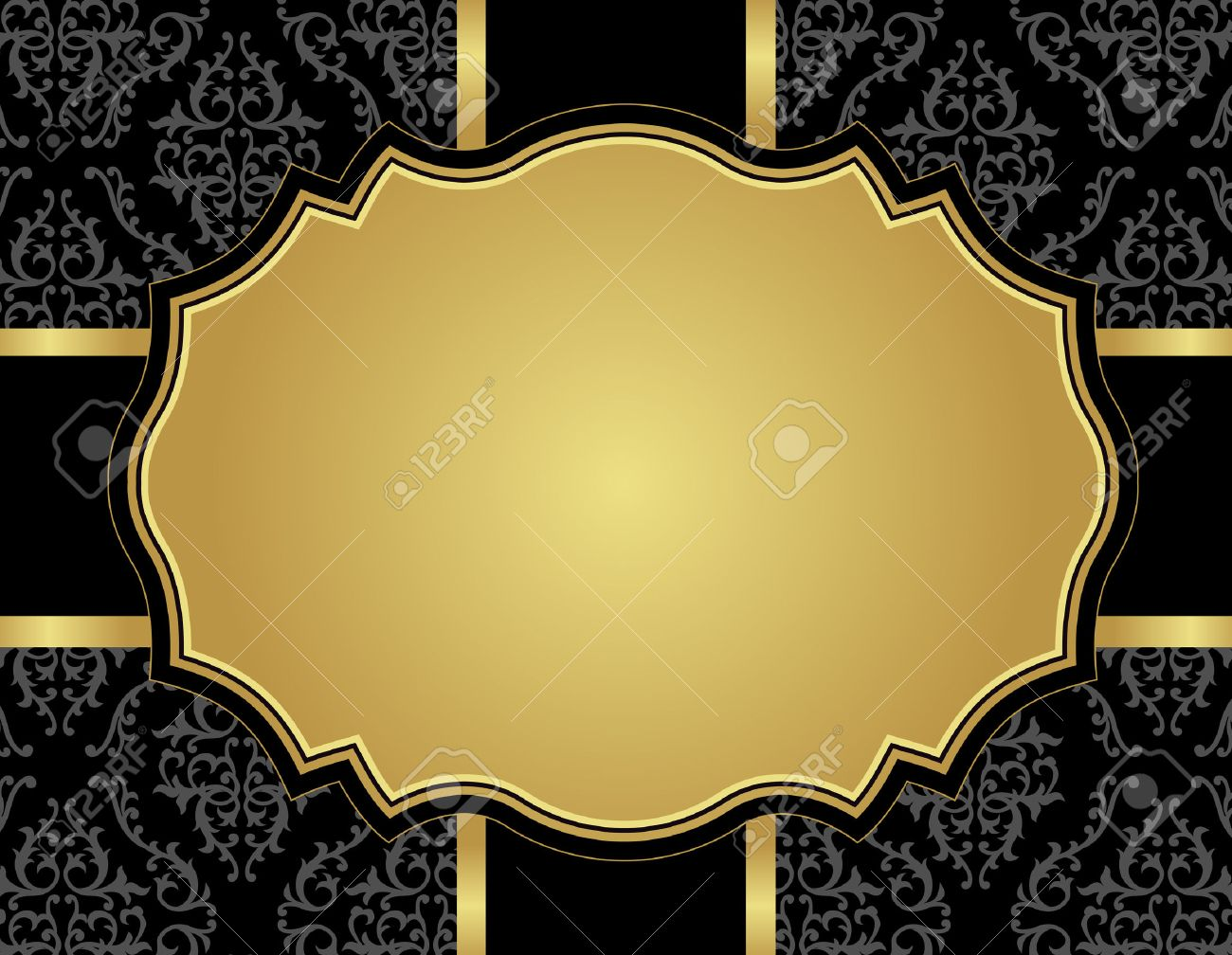 Elegant Gold And Black Damask Pattern Background With Ribbon