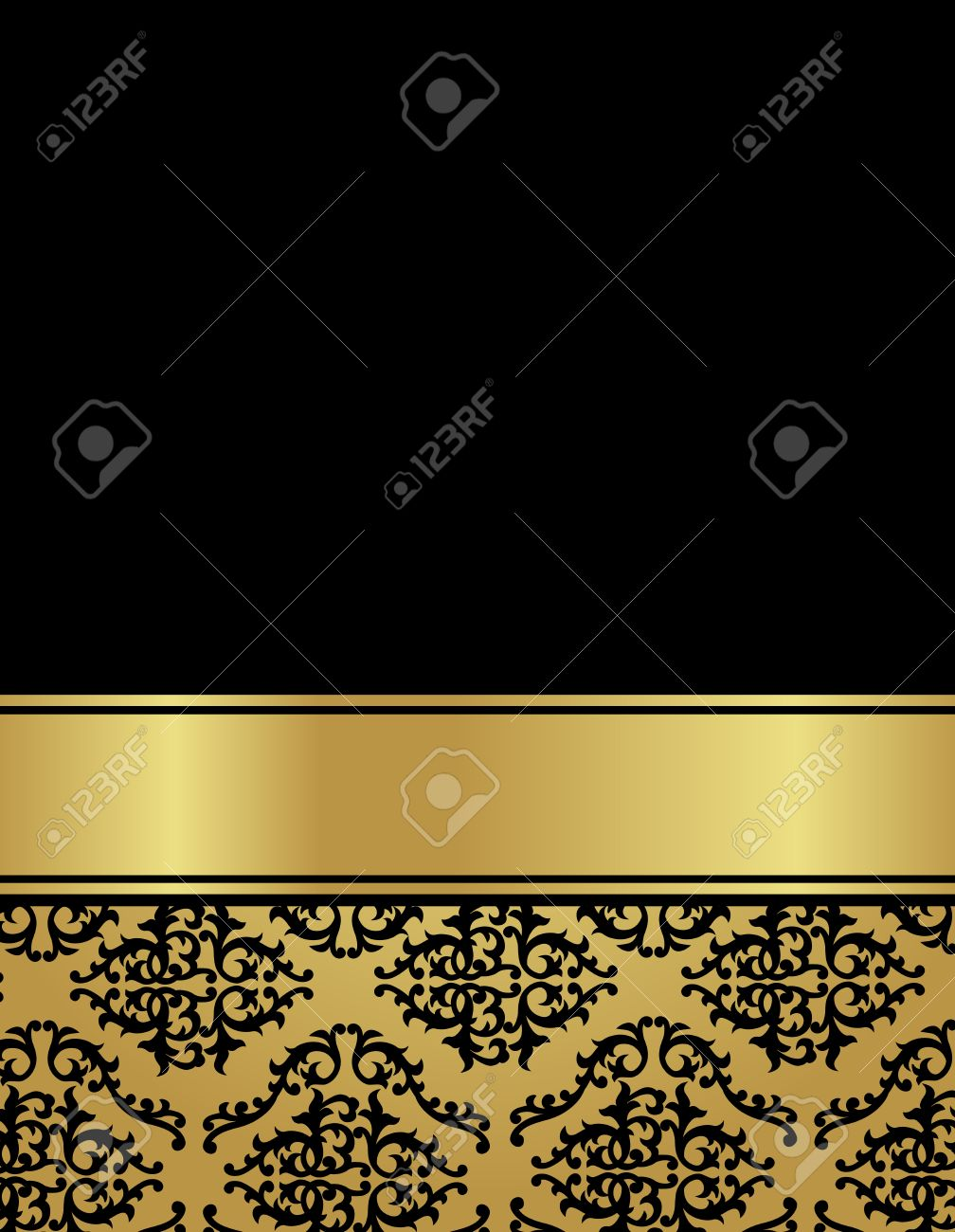 Elegant Gold And Black Damask Pattern Background With Ribbon.... Royalty  Free Cliparts, Vectors, And Stock Illustration. Image 38625183.