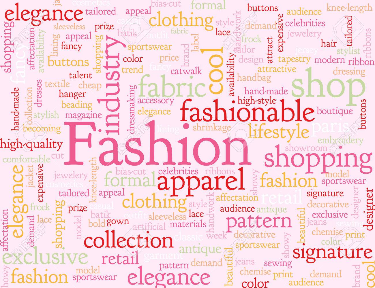 Pink Illustrated Background With Words Associated With Fashion Royalty Free Cliparts Vectors And Stock Illustration Image 38625187