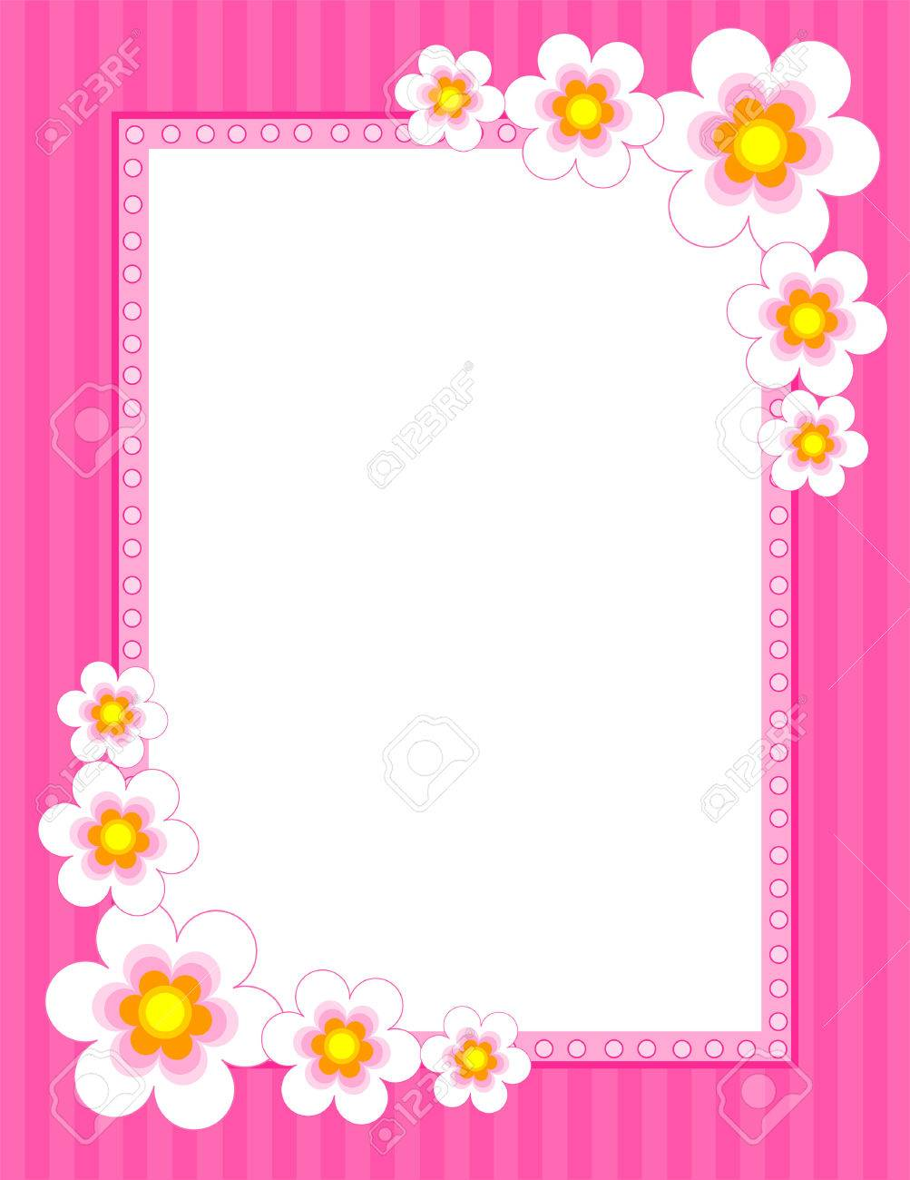 Colorful Flower Frame With Spring Collection On Corners Stock Vector