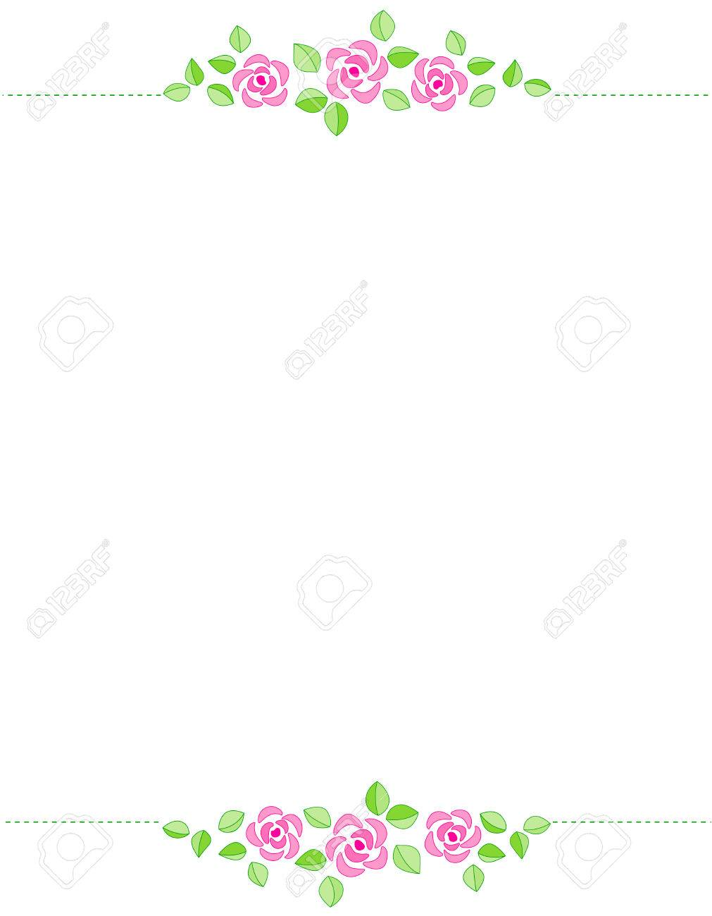 Rose Border With Beautiful Pink Roses. For Birthday , Mother\'s ...