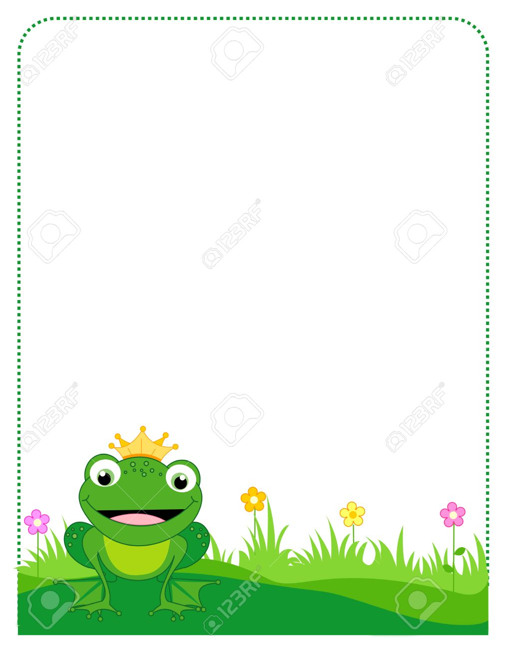 Cute Frog With A Golden Crown Border / Frame On White Background ...