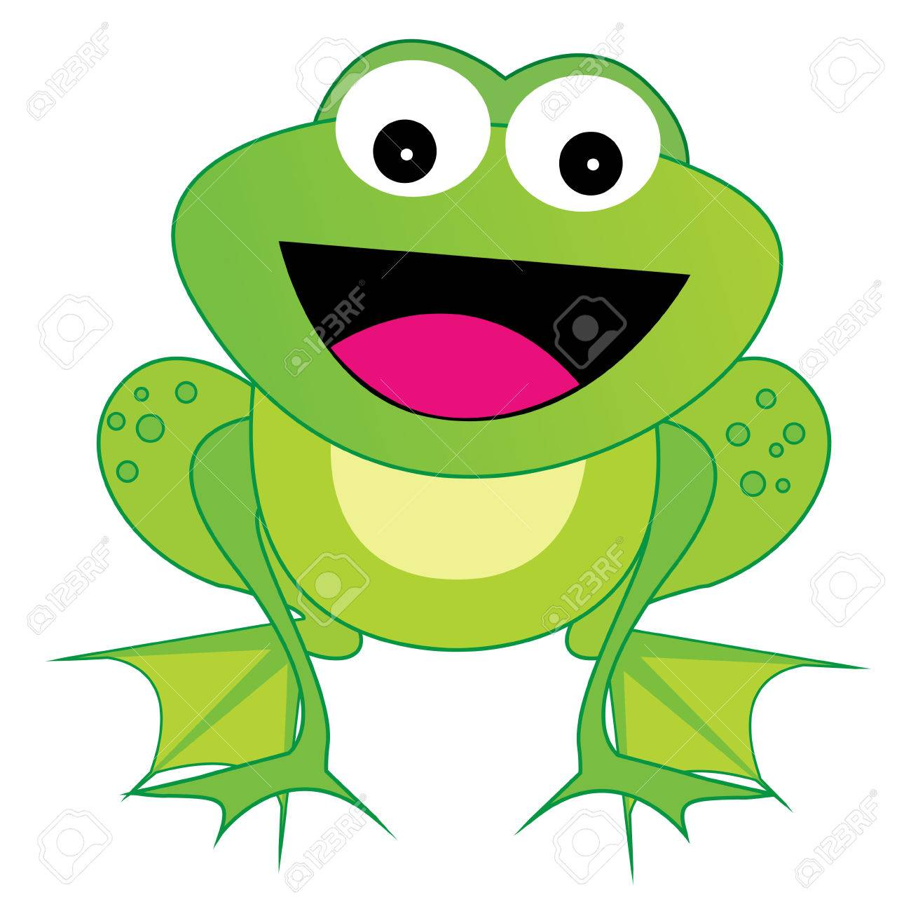 Nette Glücklich Lachend Frosch Illustration Isoliert Auf Weißem ...